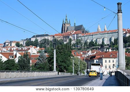 PRAGUE, CZECH REPUBLIC - JUNE 23, 2016: Prague Castle and Cathedral of saint Vitus in Prague Czech Republic