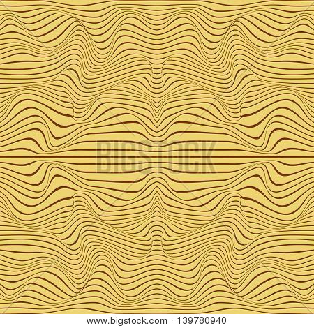 Abstract 3d effect wavy stripes background in yellow.