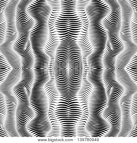 Abstract 3d effect wavy stripes background in black and white.