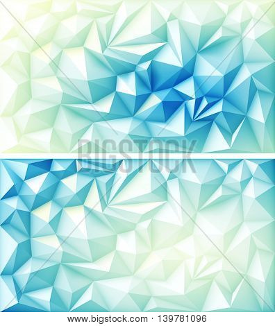 Vector Set of Polygon Abstract Polygonal Geometric Triangle Multicolored Blue Green Yellow Light Backgrounds