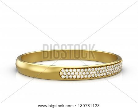 Jewelry ring on a white background. 3D illustration