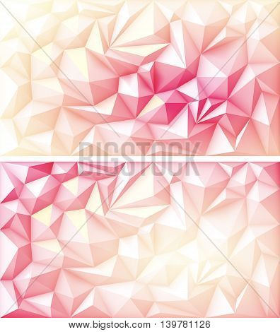 Vector Set of Polygon Abstract Polygonal Geometric Triangle Multicolored Red Pink Orange Yellow Ruby Backgrounds