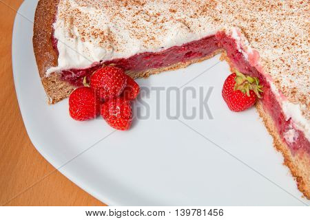 Truncated Wholemeal Strawberry Cake On A Plate