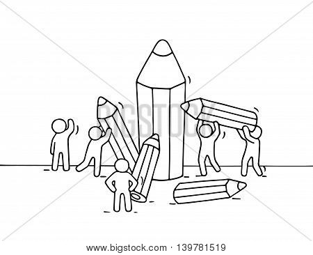 Sketch of little people with pencils. Doodle cute miniature with workers and stationery. Hand drawn cartoon vector illustration for business and school design.