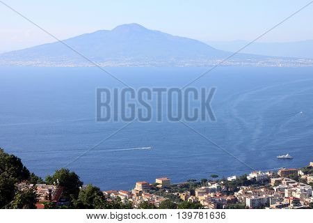 The view on the great Mount Vesuvius, Naples, Italy.