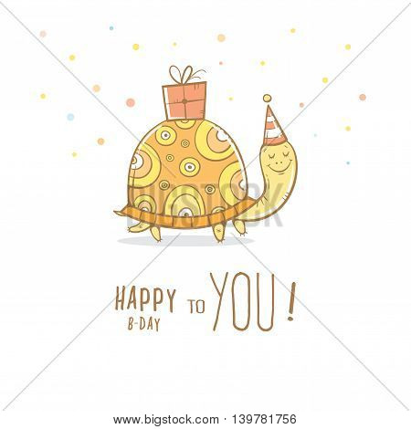 Birthday greeting card with cute cartoon turtle un party hat. Box with a gift. Funny animal. Children's illustration. Vector colorful  image.