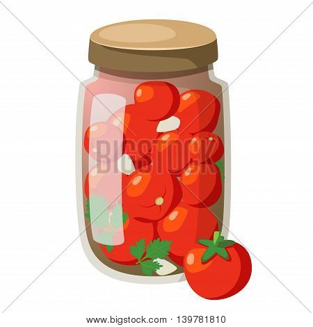 Icon cartoon marinated tomatoes in glasses. Fresh tomatoes