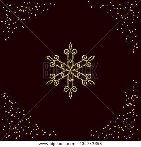 Vector decorative element in golden texture. Ornamental symbol.