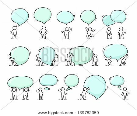 Speech bubbles icons set with little people. Doodle cute miniature scenes of workers with chat clouds. Hand drawn cartoon vector illustration for social design.