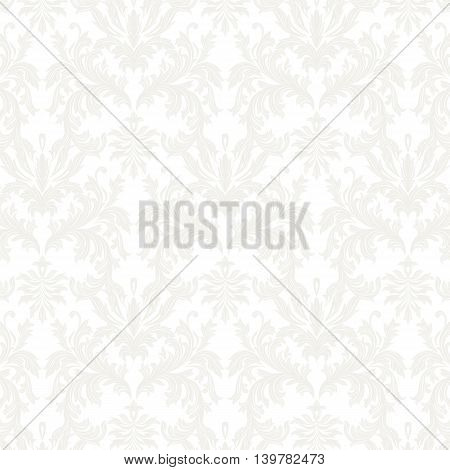 Vector Baroque Vintage floral Damask pattern. Luxury Classic ornament Royal Victorian texture for textile fabric. White gray color