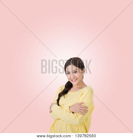 asian woman think, closeup portrait with young girl
