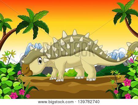 cute Ankylosaurus Dinosaur cartoon in the jungle