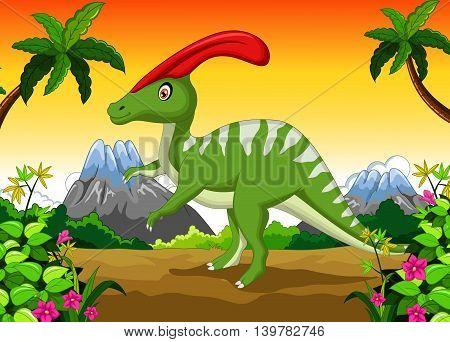 funny Dinosaur Parasaurolophus cartoon in the jungle