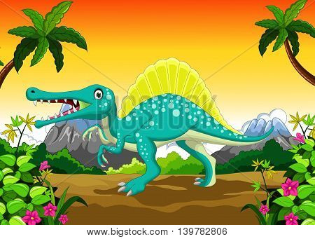 funny Dinosaur cartoon with forest landscape background, vector
