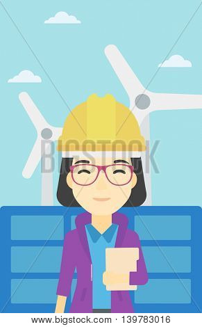 An asian worker of solar power plant and wind farm. Woman with folder on background of solar panel and wind turbine. Green energy concept. Vector flat design illustration. Vertical layout.