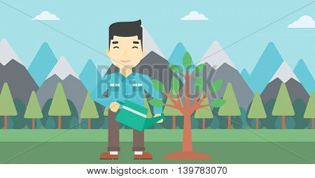 An asian man watering a tree on the background with mountain. Young friendly man takes care of the environment. Vector flat design illustration. Horizontal layout.