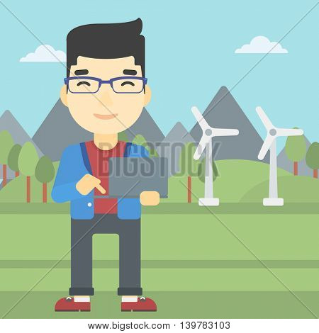 An asian man holding a laptop hands on a background with solar pannels and wind turbins. Man working on computer. Vector flat design illustration. Square layout.