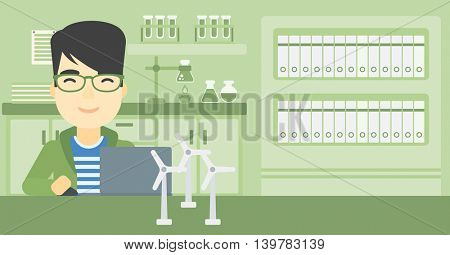 An asian man working in office with laptop and model wind turbine on the table. Man working with model wind turbines. Green energy concept. Vector flat design illustration. Horizontal layout.