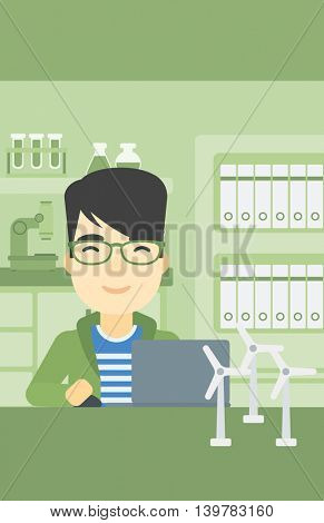 An asian man working in office with laptop and model wind turbine on the table. Man working with model wind turbines. Green energy concept. Vector flat design illustration. Vertical layout.