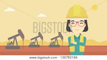 An asian female oil worker in uniform and helmet. An oil worker with crossed arms. An oil worker standing on a background of pump jack. Vector flat design illustration. Horizontal layout.