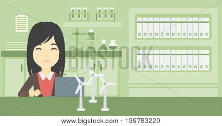An asian woman working in office with laptop and model wind turbine on the table. Woman working with model wind turbines. Green energy concept. Vector flat design illustration. Horizontal layout.