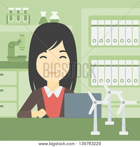 An asian woman working in office with laptop and model wind turbine on the table. Woman working with model wind turbines. Green energy concept. Vector flat design illustration. Square layout.