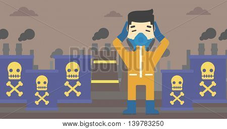 An asian man in mask and radiation protective suit clutching head while standing on a background of radioactive barrel. Vector flat design illustration. Horizontal layout.