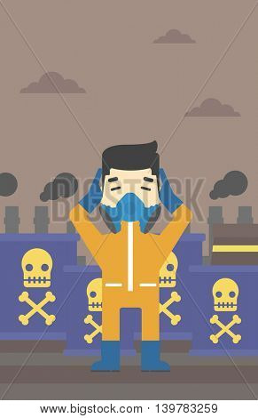 An asian man in mask and radiation protective suit clutching head while standing on a background of radioactive barrel. Vector flat design illustration. Vertical layout.