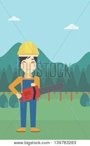 An asian female lumberjack in helmet holding a chainsaw on a forest background. Vector flat design illustration. Vertical layout.