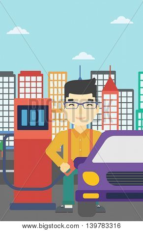 An asian man filling up fuel into the car. Man standing at the gas station and refueling a car. Vector flat design illustration. Vertical layout.