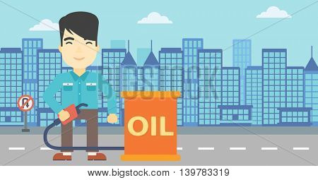 An asian man standing near oil barrel. Man holding gas pump nozzle on a city background. Man with gas pump and oil barrel. Vector flat design illustration. Horizontal layout.