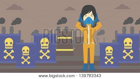 An asian woman in mask and radiation protective suit clutching head while standing on a background of radioactive barrel. Vector flat design illustration. Horizontal layout.
