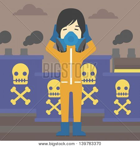 An asian woman in mask and radiation protective suit clutching head while standing on a background of radioactive barrel. Vector flat design illustration. Square layout.