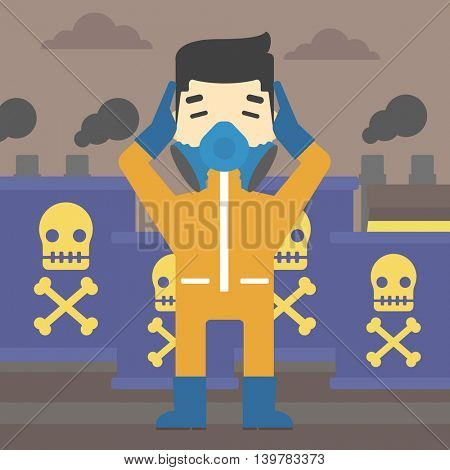 An asian man in mask and radiation protective suit clutching head while standing on a background of radioactive barrel. Vector flat design illustration. Square layout.