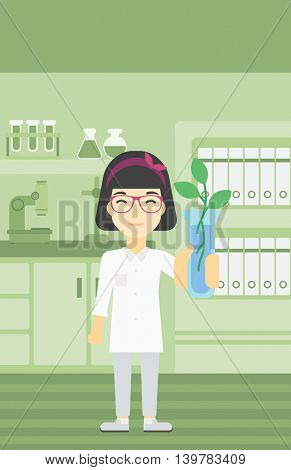 An asian female scientist holding test tube with young plant. Scientist analyzing plant in test tube. Scientist holding test tube with sprout. Vector flat design illustration. Vertical layout.