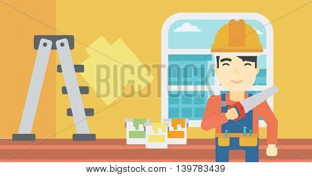 An asian worker holding a saw in hand. A man in overalls and hard hat with saw in apartment. Vector flat design illustration. Horizontal layout.