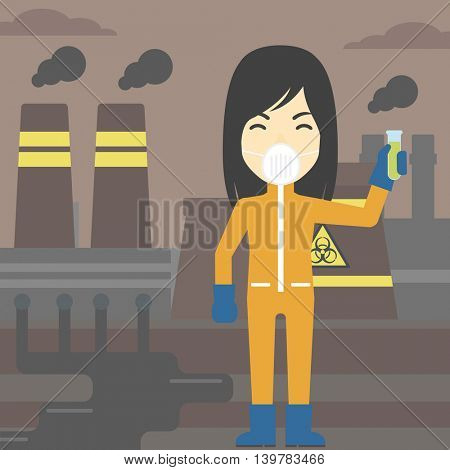 An asian scientist in radiation protective suit. Woman holding a test-tube with some liquid on a background of nuclear power plant. Vector flat design illustration. Square layout.