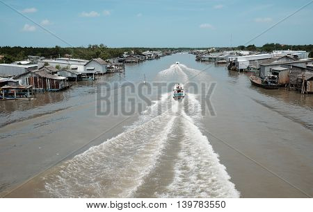 Ca Mau Riverside Residential With Motor Boat