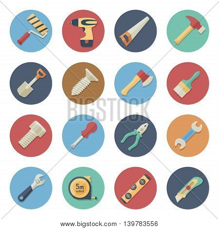 Vector illustration. Flat icon set. Work tools in simple design. Icon size 256