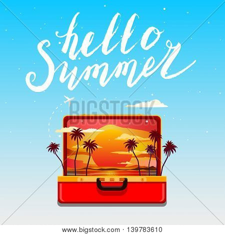 Concept of travel. Hello, summer. Open orange suitcase with sunset and palm trees. Flat design, vector illustration.