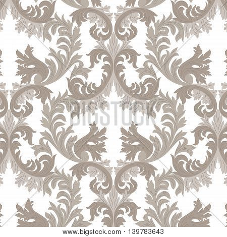 Vintage Rich Baroque floral Damask pattern Vector. Luxury classic ornament. Royal Victorian texture for textile fabric. Beige color