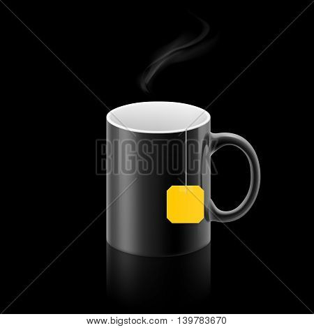 Black cup of something with teabag stay