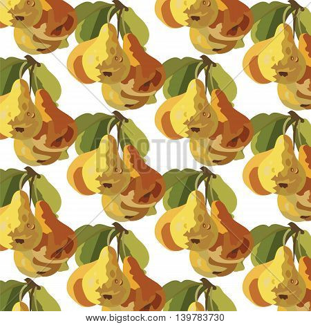 Watercolor Pears Fruits pattern background. Vector illustration