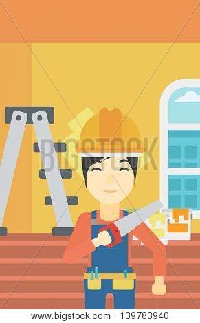 An asian female worker holding a saw in hand. A man in overalls and hard hat with saw in apartment. Vector flat design illustration. Vertical layout.