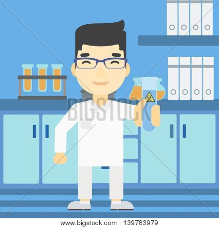 An asian scientist holding a test tube with biohazard sign. Scientist examining a test tube in a chemical laboratory. Vector flat design illustration. Square layout.