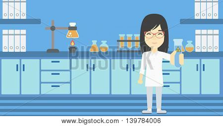 An asian female scientist holding a test tube with biohazard sign. Scientist examining a test tube in a chemical laboratory. Vector flat design illustration. Horizontal layout.