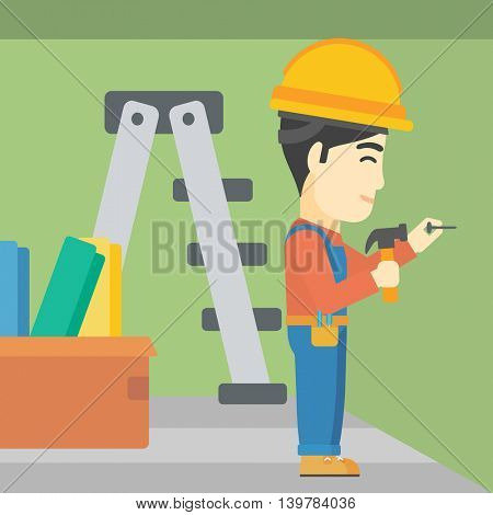 An asian worker hammering a nail into the wall. Worker in overalls and hard hat nailing with hammer in apartment. Vector flat design illustration. Square layout.