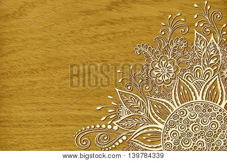 Calligraphic Vintage Pattern, Symbolic Flowers and Leafs, Abstract Floral Outline Ornament, Contours on Wood Texture, Oak Tree Veneer