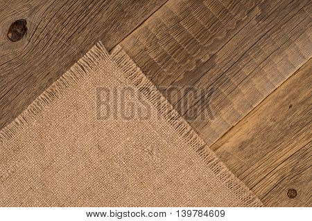 Texture of the old burlap and wood