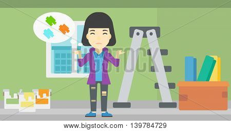 A doubtful asian woman choosing color for walls in apartment. Woman with spread arms choosing a color of paint. Vector flat design illustration. Horizontal layout.